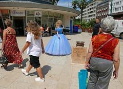 Saving for Comicon (dawn.v) Tags: bournemouth dorset uk england summer july 2017 lumixlx100 comicon candid bournemouthsquare bluedress costume street