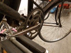 Thompson cottered cranks on an old Dutch bike (ubrayj02) Tags: fiets repair dutch bike cottered crank flyingpigeonla trapas bicycle thompson bottom bracket vintage