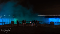 Niagara Falls - Watching the spectacular light show (Lgampel) Tags: specland toronto canada niagarafalls 2017 canadaday sony photograph canadianfalls waterfall northamerica ontario night light bridalveilfalls chutesniagara sightseeing people myst horseshoefalls vacation travel flickr tourists destination