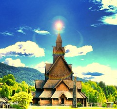 Stave Church, Norway (evakongshavn) Tags: church churches landscapephotography landscapelovers landscapecaptures landschaft landscape beautyinnature house houses outdoors adventureisoutthere adventure beautiful bluegreen countryside rural rurallove telemark heddal stavkirke stavechurch explore sky clouds hdr scenery scenic vacation holiday creative artistic art fineartphotography fineart edited
