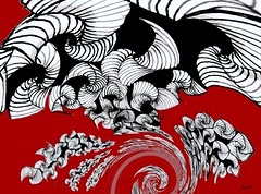 En rouge et noir - In Black & Red (Emmanuelle Baudry - Em'Art) Tags: art artwork abstract artnumérique abstrait digitalart dream vision vortex fractal zentangle dessin drawing emmanuellebaudry emart spiral spirale