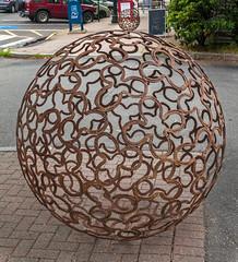 Lucky Ball (Me in ME) Tags: brunswick maine artwalk sculpture horseshoes lucky clover fourleaf