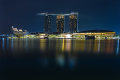 Marina bay Singapore at dusk, Singapore city skyline (Photowithyou) Tags: architecture arts asia asian bay buildings business city citystate cityscape coast country dawn day district dusk esplanade evening famous financial harbor helix high hotel landmark landscape location marina modern morning museum national night reflection rises river sands scene scenery sea singapore skyline sunset traffic twilight view water waterfront