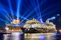 Mein Schiff 6 (cruise-ship-photography.com) Tags: tui cruises mein schiff 6 kreuzfahrtschiff hamburg meyerwerft elbphilharmonie laser licht blaue stunde blue hour