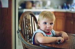 I know it's a cliche, but it's amazing how fast your kids grow up. My younger son sitting in his baby feeding chair waiting for some dinner. Today, he's majoring in mechanical engineering at a large university. Happy Father's Day, everybody! Aug 1999 (wavz13) Tags: oldphotographs oldphotos 1990sphotographs 1990sphotos oldphotography 1990sphotography vintagesnapshots oldsnapshots filmphotos filmphotography vintagekids oldfamilyphotos vintagefamilyphotos oldfamilyphotography vintagefamilyphotography vintage35mm old35mm vintagekodacolor children grain grainy blueeyes kids babies babyblues