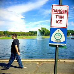 walking on thin ice (JasonLee) Tags: park warningsign thinice danger clouds cloudporn bluesky mrbluesky vibrant colorporn walking jerseycity firstdayofsummer lake water manmadelake powerwalking