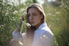 Giulia (Litvac Leonid) Tags: portrait girl nature flower summer beautiful grass nikon woman adult happiness mood moody freckles outdoors daylight natural light freckled leisure hayfield ll photography litvac leonid