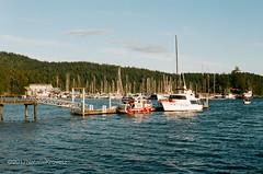 West Sound, Orcas Island (nataliekrovetz) Tags: fm2 pnw portra400 film 35mm boat harbor nikonfm2 sky evening orcasisland sanjuanislands red