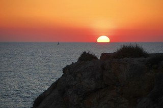 Sunset over cliff