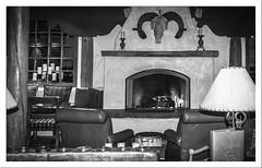 Fireplace (Sugardxn) Tags: garypentin sugardxn canon canoneos20d canon20d photoshop picswithframes frame newmexico nm arizona az loretto fireplace lounge bw blackandwhite santafe santefe