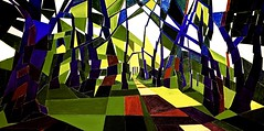 Sunlight And Shade On A Summers Day In Martens Grove (bill_giddings) Tags: original modern fineart modernfineart landscape woodlandlandscape oilpaintingoncanvas woodlandgrove sunlight shade sunshineandshade lightanddark shadows warmsummerday modernart contemporaryart geometricstyle cubism surreal abstract artdeco artnouveau impressionist postimpressionism trees foliage woods forst grove paths perspective space nearandfar colour blue green yellow reds shapes lines patterns illumination creativity imagination geometry nikon