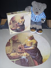 A round one fer a change (pefkosmad) Tags: jigsaw puzzle leisure hobby pastime complete 500pieces vintage used secondhand round circular waddingtons thecook janvermeer vermeer tedricstudmuffin ted teddy bear cute soft stuffed plush fluffy animal