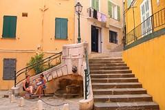 Villefranche sur mer (2), Cote d'Azur (jackfre 2) Tags: france côtedazur villefranchesurmer colours colouredhouses stairways steps lantern people