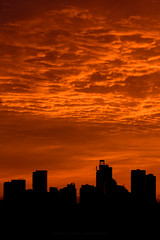 Red Dawn (Rodney Campbell) Tags: building willoughby sky silhouette sunrise cityskyline clouds red