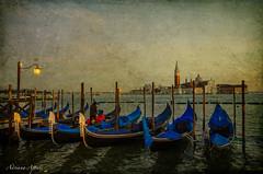 9 febbraio 2015, Venezia... (adrianaaprati) Tags: venezia venice italy sea landscape outdoor gondole boats sunset textured texture evelynflint