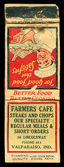 Farmers Cafe, Valparaiso, Indiana - Matchcover (Shook Photos) Tags: match matches matchcover matchcovers matchbook matchbooks restaurant farmerscafe food eatery steak porkchops chops shortorders valparaisoindiana valparaiso indiana portercounty advertise advertisement promotion promotional