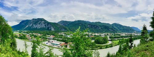 Panorama view of river Inn, Kufstein and Kaisergebirge in Tyrol, Austria