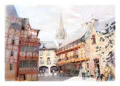 Josselin - Bretagne - France (guymoll) Tags: josselin bretagne france croquis sketch watercolour watercolor colombages église gothique