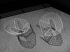 Airy chairs (Ulrich Neitzel) Tags: airy bw chair gitter grid lines linien luftig mzuiko1250mm monochrome olympusem5 schatten schwarzweiss shadow stuhl
