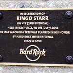 Ringo Starr 72nd Birthday plaque - Nashville, TN thumbnail