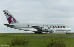 Qatar Airways A380-800 A7-APF (birrlad) Tags: paris cdg international airport france aircraft aviation airplane airplanes airline airliner airlines airways taxi taxiway arrival arriving landed runway rain weather airbus a380 a380800 a380861 a7apf qatar qatari doha qr39