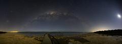 Moon Lighting (Steve Paxton WA) Tags: milkywaybow stars moonlight lowlevellighting water jetty panorama