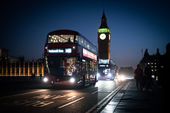 London Calling (BB ON) Tags: london uk night bus westminster city urban doubledecker tfl dusk twilght bigben elizabethtower palaceofwestminster road outdoor buildings architecture people sky light reflection westminsterbridge