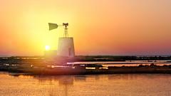 Windmill - Trapani .4 (nicolò parasole) Tags: pentax k3 tamron70200f28 saltflats wind mill sunset travel trapani sicily landscape sky nicopara71 n©photography nicolòparasole