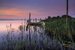 Sunrise in Murtosa. Ria de Aveiro (silvinodasilvaphotography) Tags: sand brightness blue boat collecion dramatic reflect green gold nikon lagoon murtosa rocks reflection radical sunrise sun water