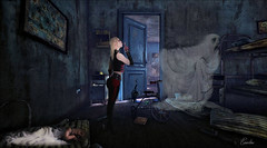 Haunted Room (martie_everaerdt) Tags: photoshop fantasy photomanipulation deviant art deviantart room blue girl haunted