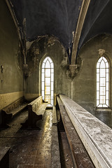 Waiting God Word (Giorgio Marra) Tags: urbex photography lost abandoned forgotten decay empty darkness photo dust memories echoes silence italy time past old indoor faith religion dark light shadow decadence ruin fotografia italia canon flickr contrast church