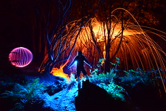 Fire Ball. (martbarras) Tags: martbarras lightpainting lpuk lpwa nikon d7100 tokina 1116mm steelwool strobes torches gels woodland night lights nature wirewool balloflight denis smiths trippy surreal sussex brighton shoreham lightpaint lightpainter lightart orange blue orb silhouette shadows fernes