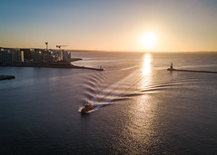 Pilot boat and sunrise (SmartDrones Aarhus) Tags: aarhus aarhushavn båd indsejlning isbjerget pilotbåd solopgang sommer aarhusmunicipality denmark dk fotodennisborupjakobsen