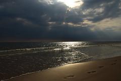 CSC_1223 (stacheltierchen) Tags: amrum beach strand sunset reflection gold footsteps fusspuren spuren im sand golden sun ferien sommer refklektion strandkorb strandkörbe amazing sky wolken evening flickr insel travel holiday nikon d3300 sea meer nordsee nordfriesland nice