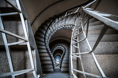 Spiral Trap (McQuaide Photography) Tags: prague praag praha czechrepublic českárepublika czechia centraleurope europe sony a7rii ilce7rm2 alpha mirrorless 1635mm sonyzeiss zeiss variotessar fullframe mcquaidephotography adobe photoshop lightroom handheld light architecture inside indoor interior building city capitalcity spiral spiralstaircase stairs staircase abstract pov lookingdown down depthoffield depth houseoftheblackmadonna czechmuseumofcubism oldtown staréměsto thehouseoftheblackmother učernématkyboží wideangle wideanglelens shape form swirl downward cubist cubism