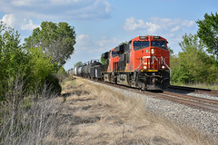 Cn 2887 in charge through the Heartland (Machme92) Tags: clouds cn canadian railroad railfanning r railroads railfans rails rail row railroading railfan trains tracks american america illinois railyard