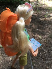 Checking the map (Foxy Belle) Tags: doll barbie made move camping fun july 2017 backpack hike woods outside hiking summer forest