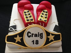 Boxing gloves and belt Birthday Cake (Cakes by Debs) Tags: belt gloves boxing stars white gold black red fondant cake biscuit chocolate square inch 10