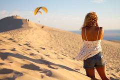 Roxane (Sarah Joy L.) Tags: girl france woman beach atlantic dune sand arcachon bordeaux canon7d canon 50mm sunset summer holiday vacation travel portrait photoshoot photography gliding
