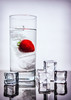 A cool strawberry (Repp1) Tags: cold drink water froid eau glass verre strawberry ice glace glaçons icecubes white blanc fraise