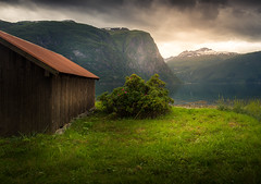 Cabin View (andreassofus) Tags: norway fjord mountains cabin water lake nature landscape mountainscape clouds sky beautiful summer summertime scandinavia grass outdoor canon manfrotto