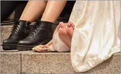 Aching Feet (Mabacam) Tags: 2017 london trafalgarsquare wedding bride people social event boots shoes feet