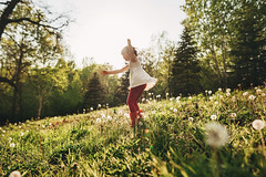 Field of weeds (Elizabeth Sallee Bauer) Tags: child childhood dandelions field fresh girl grass green lawn relaxing sitting summer