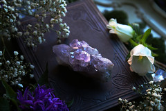 Amethyst (Sedna 90377) Tags: flowers nature antique books old vintage witch magic gemstones gems crystals amethyst herkimer diamond