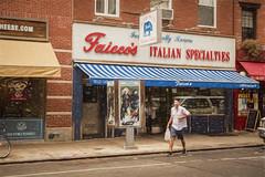 Bleecker Street Bag Man (Wade Brooks) Tags: 2014 newyorkcity september canon t3i greenwichvillage bleecker walking street city life man faiccos
