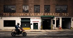 Greenwich Village Garage NYC (Darren LoPrinzi) Tags: 5d canon5d manhattan ny nyc newyork newyorkcity urban canon city miii greenwich village westvillage motorcycle cycle bike biker rider street streetphotography lowermanhattan pano panoramia panoramic old building garage perrygarage greenwichvillagegarage pedestrian walk