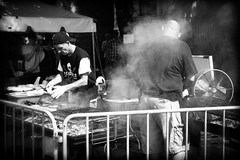 Festival Burgers (CarusoPhoto) Tags: petnax ks2 john caruso black white blackandwhite bw monochrome chicago il roscoe village neighborhood smcpentaxda35mmf24al smc pentaxda 35mm f24 al street festival fest burger food cooking cook grill grilling