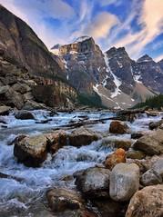 Cascade - iPhone (Jim Nix / Nomadic Pursuits) Tags: iphone snapseed travel alberta canada banff morainelake waterfall creek river stream lake alpine glacial glacier mountains sunset goldenhour