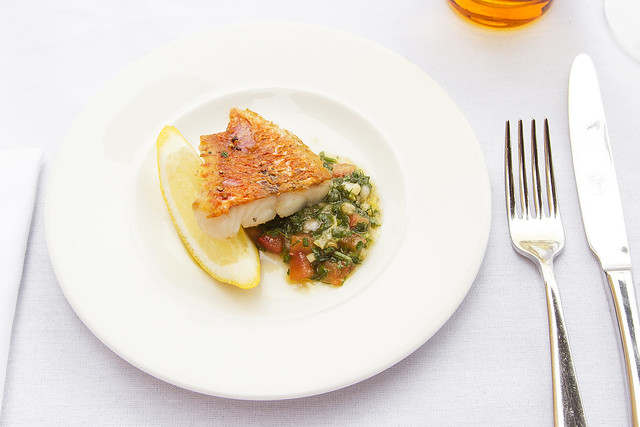Roast fillet of sea bass with sauce vierge