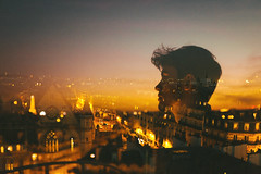 Hotel Wound (Louis Dazy) Tags: double exposure sunset sunrise glow golden hour street lights city scape